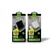 2.1A 2 IN 1- TYPE C HOME CHARGER IN WHITE