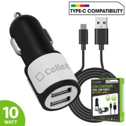 PUSB10W - HIGH POWER DUAL USB CAR CHARGER, CELLET 2.1A/10W DUAL USB CAR CHARGER (USB-C CABLE INCLUDED)