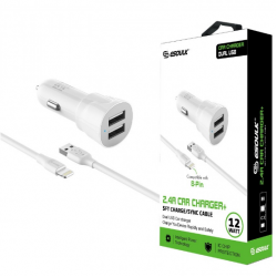 ESOULK 5V-2.4A CAR CHARGER WITH IPHONE 5FT CABLE-WHITE