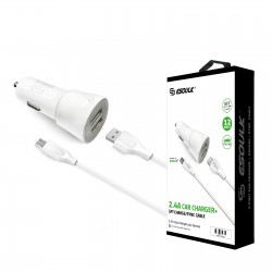 EC43P-V9-WHITE ESOULK 2.4A CAR CHARGER SET 1.5M (5FT) CABLE