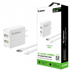 ESOULK 5V-2.4A WALL CHARGER WITH IPHONE 5FT CABLE-WHITE