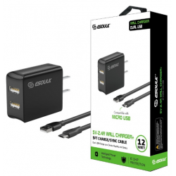 ESOULK 5V-2.4A WALL CHARGER WITH MICRO 5FT CABLE-BLACK
