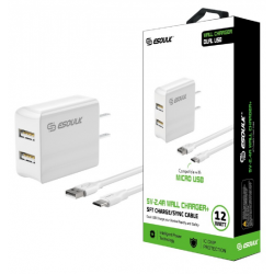 ESOULK 5V-2.4A WALL CHARGER WITH MICRO 5FT CABLE-WHITE