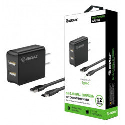 ESOULK 5V-2.4A WALL CHARGER WITH TYPE-C 5FT CABLE-BLACK