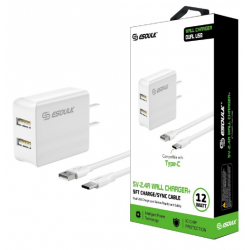 ESOULK 5V-2.4A WALL CHARGER WITH TYPE-C 5FT CABLE-WHITE