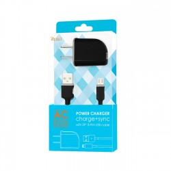 TC09-MICROBK - REIKO MICRO USB 1 AMP PORTABLE MICRO TRAVEL ADAPTER CHARGER WITH CABLE IN BLACK