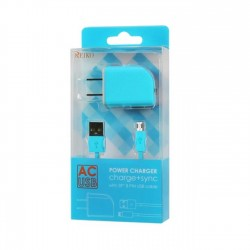 TC09-MICROBL - REIKO MICRO USB 1 AMP PORTABLE MICRO TRAVEL ADAPTER CHARGER WITH CABLE IN BLUE
