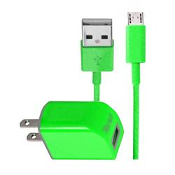 TC09-MICROGR - REIKO MICRO USB 1 AMP PORTABLE MICRO TRAVEL ADAPTER CHARGER WITH CABLE IN GREEN