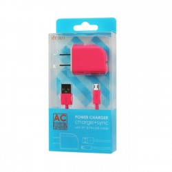 TC09-MICROHPK - REIKO MICRO USB 1 AMP PORTABLE MICRO TRAVEL ADAPTER CHARGER WITH CABLE IN HOT PINK