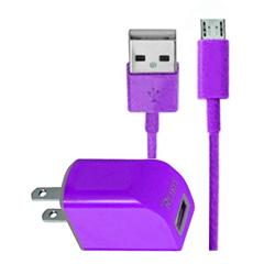 TC09-MICROHPP - REIKO MICRO USB 1 AMP PORTABLE MICRO TRAVEL ADAPTER CHARGER WITH CABLE IN PURPLE
