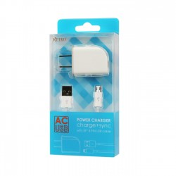 TC09-MICROWH - REIKO MICRO USB 1 AMP PORTABLE MICRO TRAVEL ADAPTER CHARGER WITH CABLE IN WHITE