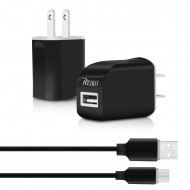 TC09-TYPECBK - REIKO TYPE C TRAVEL CHARGER WITH DATA CABLE IN BLACK