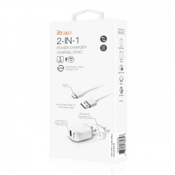 TC09-TYPECWH - REIKO TYPE C TRAVEL CHARGER WITH DATA CABLE IN WHITE