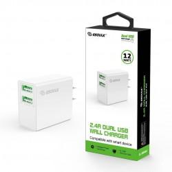 EA10P-WH:12W 2.4A Dual USB Wall Adapater White