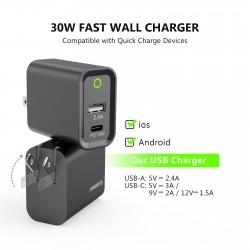 EA16-BK: 30W Wall Adapater 18W PD USB-C + 2.4A USB A
