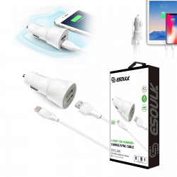 EC43P-IOS-WHITE ESOULK 2.4A CAR CHARGER SET 1.5M (5FT) CABLE