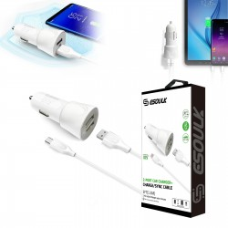 EC43P-TYPE-C- WHITE ESOULK 2.4A CAR CHARGER SET 1.5M (5FT) CABLE