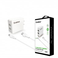 EC44P-V9-WHITE ESOULK 2.4A WALL CHARGER SET 1.5M (5FT) CABLE
