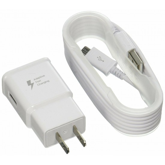 ADAPTIVE FAST CHARGER WHITE (AFC) FOR SAMSUNG GALAXY S7,S7 EDGE, S6,S6 EDGE, & NOTE 4/5, WALL PLUG WITH MICRO USB CABLE