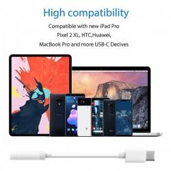 WHITE USB TYPE-C TO 3.5MM AUDIO JACK ADAPTER