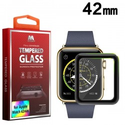 42 mm MYBAT Full Coverage Tempered Glass Screen Protector/Black