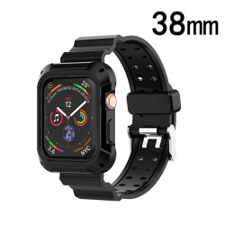 Black/Black Silicone Sport Watchband with Case