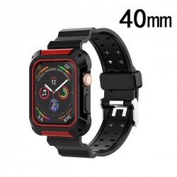 Black/Red Silicone Sport Watchband with Case