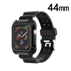 Black/Gray Silicone Sport Watchband with Case