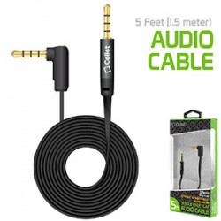 Cellet 5 Foot (1.5 meter) Premium Flat Wire 3.5mm to 3.5mm Right Angle Pin Auxiliary Audio Cable