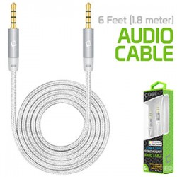 Cellet 3.5mm Premium Anti-Tangle Braided Aux Audio Cable for iPhones, iPods, iPads, Headphones, Smartphones for Home and Car Stereos – White/Chrom
