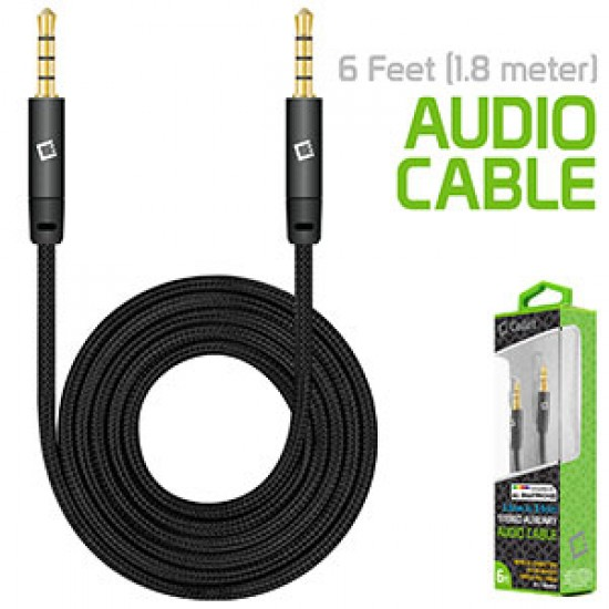 Cellet 3.5mm Premium Anti-Tangle Braided Aux Audio Cable for iPhones, iPods, iPads, Headphones, Smartphones for Home and Car Stereos - Black