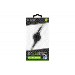 Cellet Black Retractable 3.5mm Pin to 3.5mm Input Stereo Audio Cable