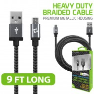 CELLET PREMIUM BRAIDED & METALLIC HOUSING 9 FT MICRO USB CHARGING / DATA CABLE