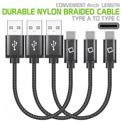 """DCA4IN3 - 3 PACK PREMIUM TYPE C DATA SYNC CABLE, 4"""" HEAVY DUTY NYLON BRAIDED TYPE C CHARGING/DATA SYNC CABLE BY CELLET"""