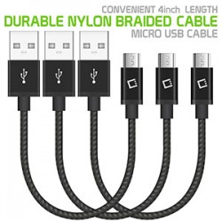 """DAMICRO43 - 3 PACK PREMIUM USB DATA SYNC CABLE,4"""" HEAVY DUTY NYLON BRAIDED MICRO USB CHARGING/DATA SYNC CABLE BY CELLET"""