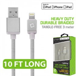 CELLET LIGHTNING 8 PIN (APPLE MFI CERTIFIED) 10FT. (3M) HEAVY DUTY NYLON BRAIDED USB CHARGING PLUS DATA SYNC CABLE - SILVER