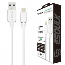 EC30P-i7-5FT-WHITE-ESOULK 5FT NYLON BRAIDED FASTER CHARGING CABLE