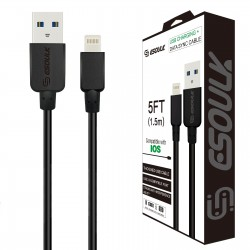 EC30P-i7-5FT-BLACK ESOULK 5FT NYLON BRAIDED FASTER CHARGING CABLE