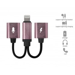 FOR IPHONE 7/8/XS/MAX - 2-IN-1 ADATER DOUBLE HEADPHONE AUDIO CHARGE - ROSE GOLD