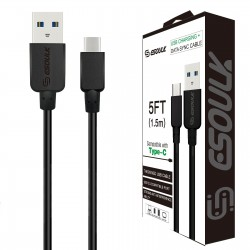 EC30P-TPC-BLACK ESOULK 5FT NYLON BRAIDED FASTER CHARGING CABLE