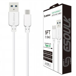 EC30P-TPC-WHITE ESOULK 5FT NYLON BRAIDED FASTER CHARGING CABLE