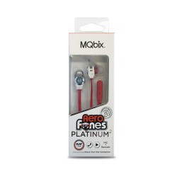 MQBIX MQET39WHT AEROFONES PLATINUM2 SECURE-FIT EARPHONES WITH TANGLE-FREE FLAT CABLE, MIC
