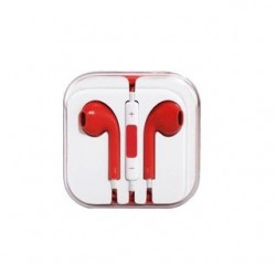 EARPHONES EARPODS  WITH VOLUME REMOTE+MIC FOR APPLE iPHONE 4/5/6  (RED)