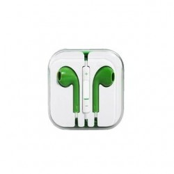EARPHONES EARPODS  WITH VOLUME REMOTE+MIC FOR APPLE iPHONE 4/5/6  (GREEN)