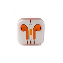 EARPHONES EARPODS  WITH VOLUME REMOTE+MIC FOR APPLE iPHONE 4/5/6  (ORANGE)
