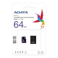 ADATA MICRO SDHC CARD W/ ADAPTER - 64GB MEMORY CARD CLASS 10