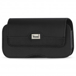 HP100B-583207BK-FOR SAMS4PL/I9300PL - Reiko Rugged Horizontal Leather Pouch With Metal Logo And Magnetic Closure In Black