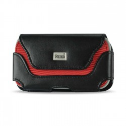 HP126B-583007BK-FOR IPHONE PL - Reiko Horizontal Leather Pouch With Red Bee Nest Interior Black In Cardboard Packaging
