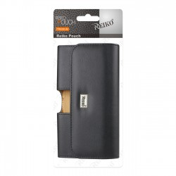 HP153B-582905BK-FOR SAMS7SL - Reiko Horizontal Leather Pouch With Interior Meddle Open In Black In Black