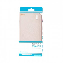 REIKO 5000MAH UNIVERSAL POWER  BANK WITH LED LIGHT IN PINK